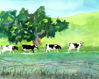 Green Landscape Print, Cows, Dairy cows, Farmland, wall art, Print, landscape painting, watercolor print, Watercolour trees, Green artwork