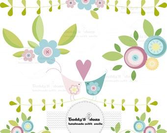 Flower clipart, bird clip art