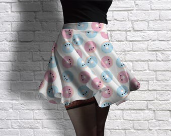 Cute Doughnuts Scuba Skater Skirt