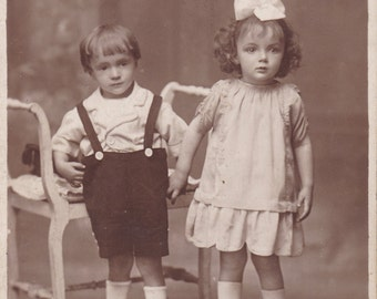 Antique Studio Photograph - Boy And Girl, Children, Brother And Sister