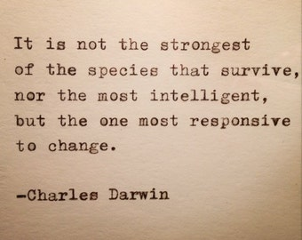 Charles Darwin Quote Typed on Typewriter