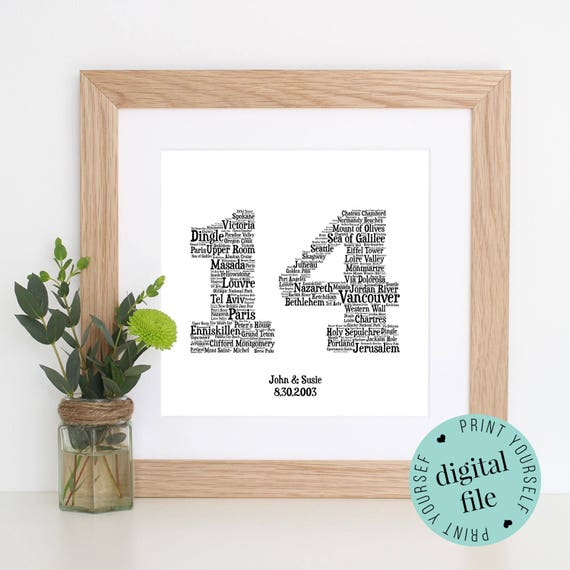 14th Year Wedding Anniversary Gift: 14th ANNIVERSARY GIFT Word Art Printable Gift Gift For