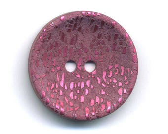 Pink reflection fancy metal button