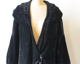 1930s Black Silk Velvet Jacket - AS IS