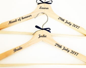 Personalised wedding hangers, wedding gift, hanger, bridesmaid gift, bridal party gift, mother of bride, maid of honour, bride, wedding day