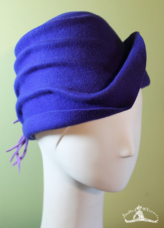 Purple Cloche Hat - Women's Violet Wool Cloche Hat - Women's Purple Sculpted Cloche - 1920s Style Purple Cloche - OOAK