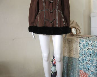 Vintage Kenzo 80s 90s folk inspired duffle jacket coat with fake fur collar and cuffs