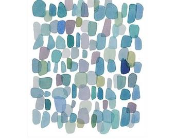 original art sale, Raindrops, Original Watercolor painting Abstract little painting blue green dots