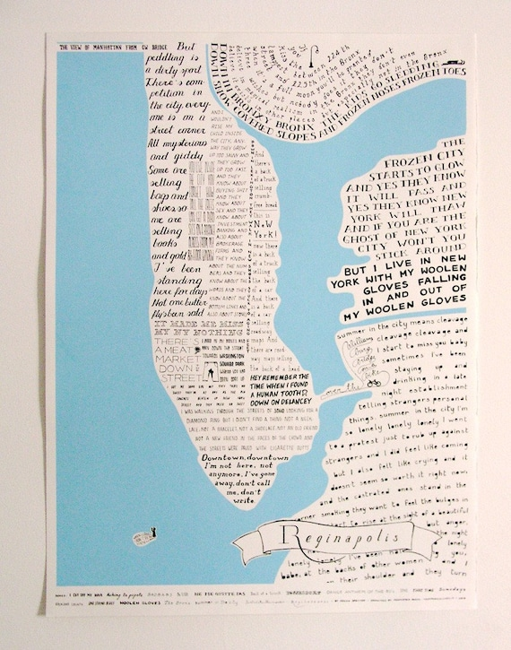 Reginapolis Map New York city through Regina Spektor lyrics