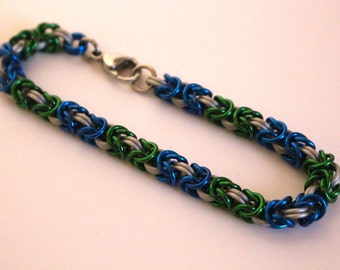 Byzantine Chainmaille Bracelet | Hand Crafted Chainmaille Jewelry | Handmade Bracelet | Green, Blue, and White | Anodized Aluminum