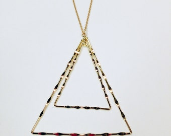 Gold Double Triangle Pendant Necklace, Rhinestone Pendant, Long Necklace, Metal Pendant Necklace, Gold Necklace - FREE SHIPPING