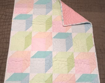 Soft Tumble handmade baby quilt; perfect for tummy time, cartoon snuggles, or gift; ready to ship