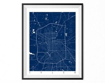 Tyler Map Art Print / Tyler City Poster / Tyler Wall Art / Texas/ Gift / Texas home decor
