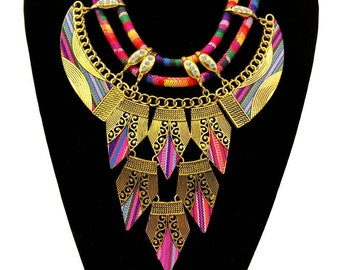 Necklace gold multicolor beautiful boho, multicolors, hippie style jewelry, new season from girls!