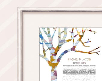 Contemporary Custom Ketubah Marriage Certificate Tree of Life Winter