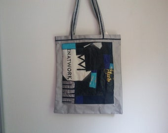 shoulder bag, handmade, print is made of recycled material / fusing plastic