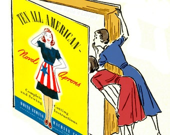 1940's Apron Sewing Patterns Grids & Instructions..... Ten All-American Apron Book Reproduction...WWII Instant Download..PDF....J250