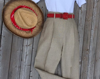 ESPRIT LINEN Women's PANT - High Waisted- Side Zip - Size 5/6- Peg Leg with Slit at Angle- Vintage 1980's- Burlap Linen- Excellent Condition
