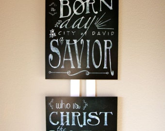 Christmas Bible Verse Chalk Board Wall Art - 8x10 mounted print no. 1 in a series