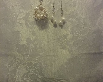 Pearl Bird Nest Necklace and Earrings