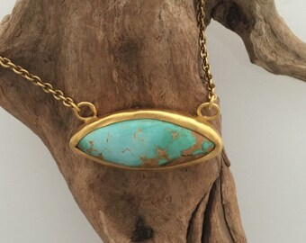 Simple classical chain wirh turquoise pendant  solid 22k gold by ann biederman