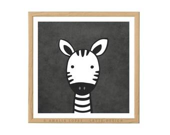 Zebra nursery print Zebra print Zebra nursery monochrome nursery decor black and white nursery monochrome nursery Zebra illustration