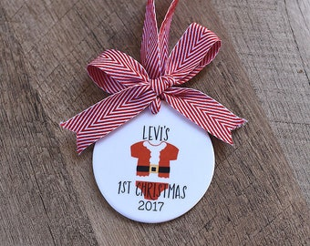 Baby's First Christmas Ornament  - Baby's 1st Christmas Ceramic Ornament, Baby Xmas Ornament, Baby Shower Gifts, We're Expecting Ornament