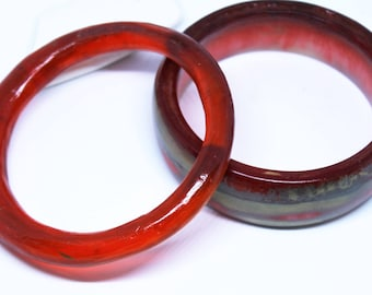 2 Handmade resin bangles, stack of resin bangles. resin bangle, red and gold resin bangles