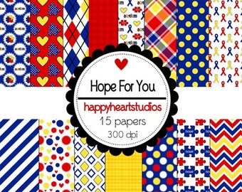 Digital Scrapbooking HopeForYou Causes, Kids, Hearts, Puzzle, Ribbon-INSTANT DOWNLOAD