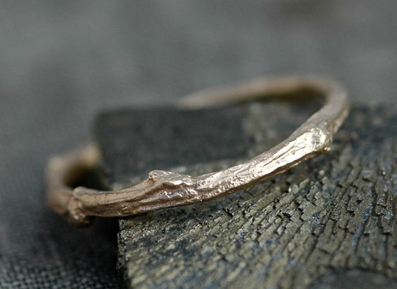 14k Gold Branch Ring- Twig Band, Custom Made Wedding or Engagement Ring in Yellow, White, or Rose Gold