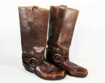 Vintage Leather Harness Motorcycle Boots in Brown. Circa 1970's.