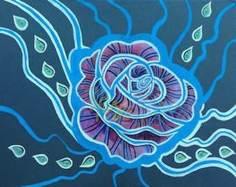 Portlandia Portlander's Raindrop Rose River Portland Oregon OR Original Acrylic Art PRINT 8x10 in 11x14 Black Matte
