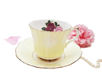 Pastel Yellow Royal Castle Teacup with Pink and Red Roses, Ornate Teacup, Shabby Chic