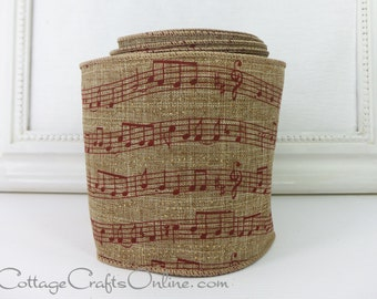 """Christmas Wired Ribbon, 4"""" Red Music Notes, Gold Glitter, Linen Look, TEN YARD ROLL - d. stevens, Craft / Decor / Wreath Wire Edge Ribbon"""