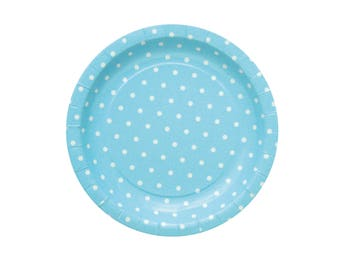 10 Blue Polka Dot Paper Plates Blue Party Plates Blue Baby Shower Plates Baby Boy Party Plates Blue Birthday Party Plates Dinner Paper Plate
