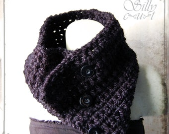 tube scarf - crochet -  black, Silver Sparkle, gothic, victorian, romantic, chunky, elegant