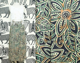 Tropical Print Floral Skirt // High Waist Green Navy Skirt // 80s Bold Floral Print Resort Wear Rayon Size 4 Small