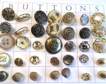 35 SILVER and GOLD Metal Look VINTAGE Buttons Shank Buttons Old Metal Buttons
