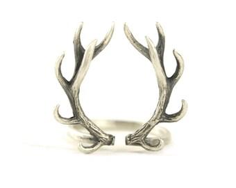 Deer Antler Ring Sterling Silver Adjustable Ring Horns Wrap Ring Boho Jewelry - FRI001
