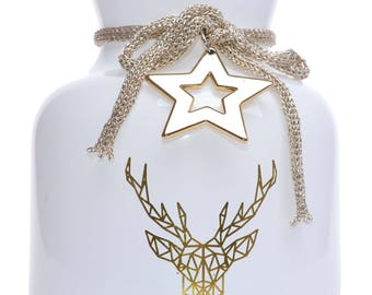 Glass Lantern with Reindeer