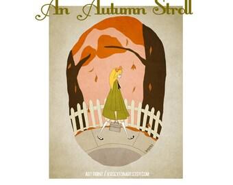 Art Print - An Autumn Stroll - Fall Decor - 8x10 full color original illustration