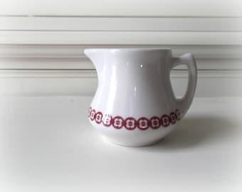 Vintage Ironstone Creamer, White and Red Restaurant Ware, Jackson China, Modern Farmhouse Decor