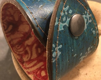 Leather lined hand dyed leather cuff