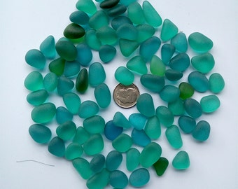 20 pieces beach sea glass lot bulk wholesale teal green-blue 12-16mm jewelry use