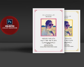 In Loveing Of Memory Funeral Program - Funeral Memorial Program Template - Photoshop & MS Word Template - INSTANT DOWNLOAD