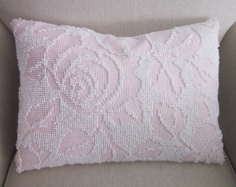 Vintage Chenille Pillow Cover, Cottage Chic, Shabby Chic, Pink Cabbage Rose, 12 x 16 inches