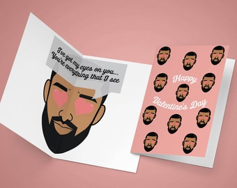 Drake Valentines Day Card Heart Eyes