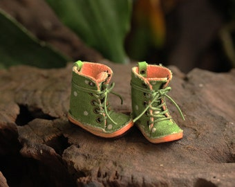 Ankle boot size M for body neo blythe, pure neemo, Mimi body, Fabric Green polka dot