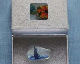 Sea Glass Orca Brooch