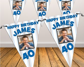 Personalised Happy Birthday PHOTO Flag Banner Bunting with ribbon N42 (10 Flags ) Hanging Decoration 18th 21st 30th 40th Any Age